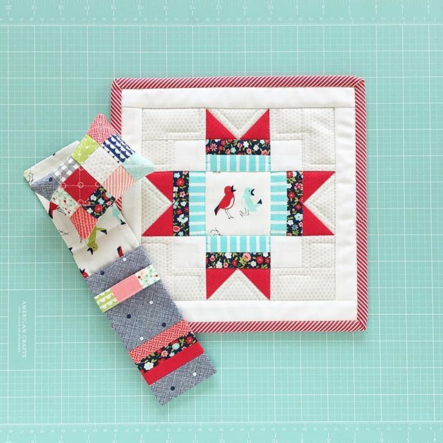 A fun day in the studio yielded the cutest little pincushion and pencil case for my swap partner...😍.  #bonnieandcamille #aussieminiquiltswap