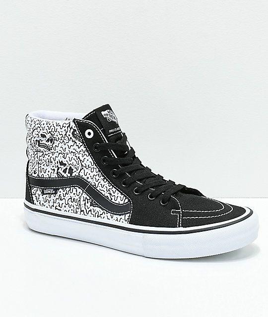 0b722218747668 Vans x Sketchy Tank Sk8-Hi Pro Reflective Black   White Skate Shoes ...