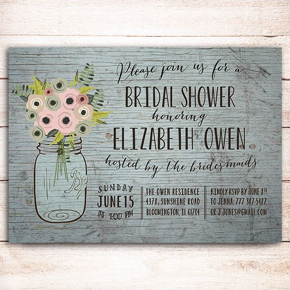 Thanks for visiting OnlyPrintableArts! This listing is for the PRINTABLE Rustic mason jar bridal shower invitation is completely customizable