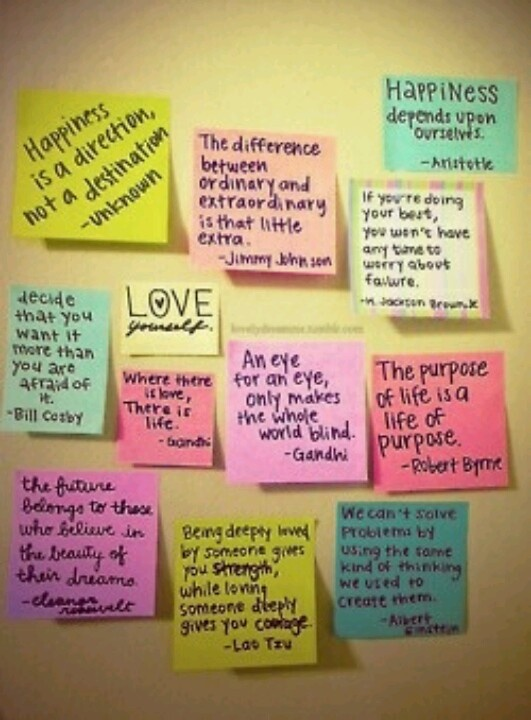 Quotes On Colorful Sticky Notes To Help Decorate The Walls Of Your Dorm Room Would Be Cute