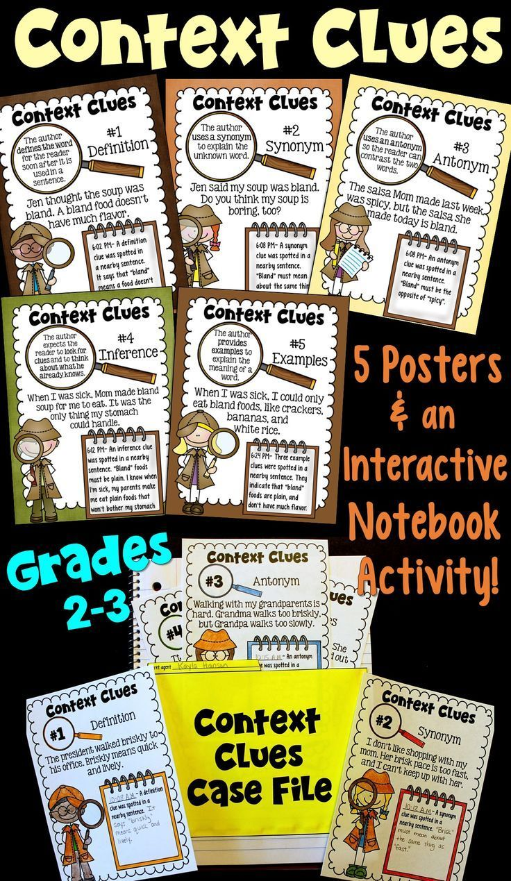 Context Clues Posters and Interactive Notebook Activity (2nd and 3rd ...