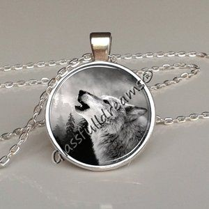 Moon howling wolf pendant Moon howling wolf necklace,full moon pendant,necklace charm,glass pendant,photo pendant,night sky,black wolf,animal pendant,handmade jewelry made in uk,glassfulldreams
