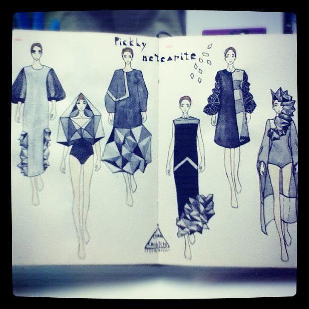 Fashion Sketchbook - meteorite inspired design drawings