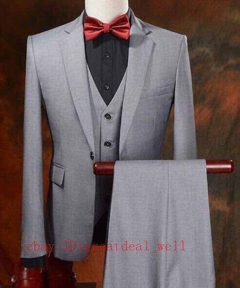 Men Gray Suit Groom Tuxedos Wedding Suit Formal Bridegroom Suit Custom Made
