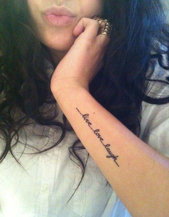 live love laugh tattoo lower arm