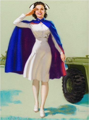 1940s Pin-Up Girl American Red Cross Nurse WW II Picture Poster Print Art