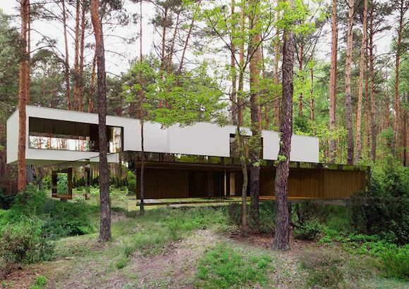 mirror house in the forest