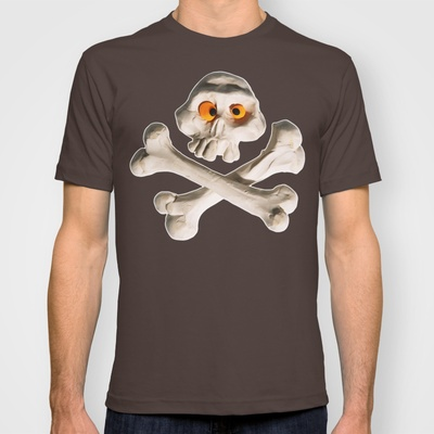 Mr. Skull T-shirt by Martin Misik - $18.00 // #skull #wood #skeleton #plasticine #clay #sculpting #funny #bones #yellow #eye