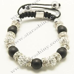Shamballa Bracelet, 10mm round clay clear rhinestone & black matt agate beads        Item No.:SN014744      Shop price: US$3.90 - US$4.59