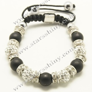Shamballa Bracelet, 10mm round clay clear rhinestone & black matt agate beads        Item No.:SN014744      Shop price: US$3.90 - US$4.59