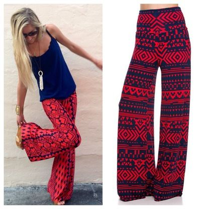Tribal aztec palazzo pants / $28. Love the colors.