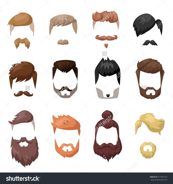 Hairstyles Beard And Hair Face Cut Mask Flat Cartoon Collection. Vector  Maleu2026