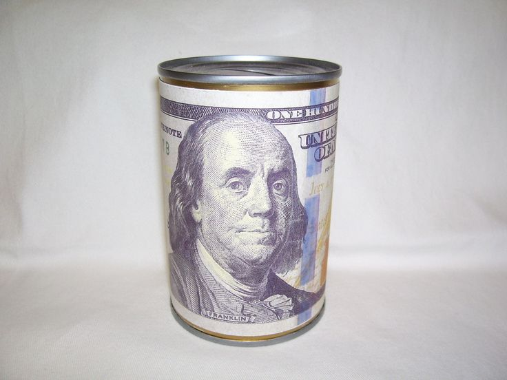 DOLLAR SAVINGS BANK tin can with depiction of a hundred dollar bill by RoosZoo on Etsy
