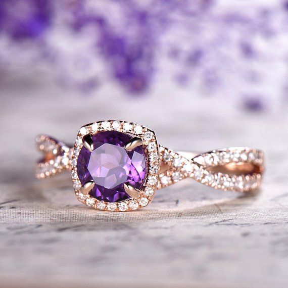 Amethyst Engagement Ring Rose Gold 14k 18k Gold Diamond Wedding