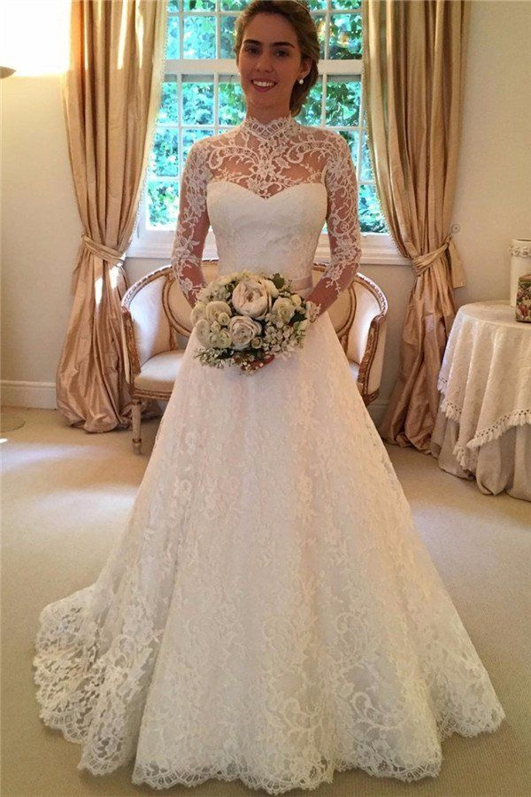 Long Sleeve High Neckline Lace A line Wedding Dresses, Sexy Open Back – SposaDesses
