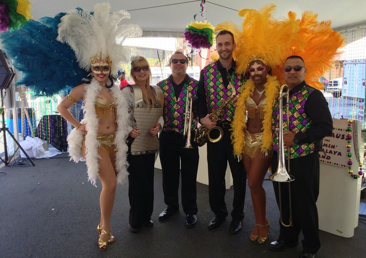 Jammin Jambalaya band performs Zydeco, Mardi Gras tunes, Dixieland, Second Line songs, Blues and Funk &  transitions into Rock, Pop, Current hits. 3-8 pcs. Fully insured. Pictured here at Mardi Gras gig in Orlando