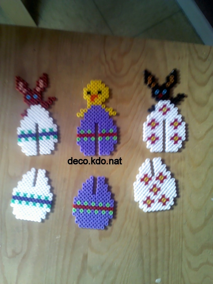 Hama bead 3D Easter eggs that can stand up as decorations, these would work really well made with mini Hama beads too