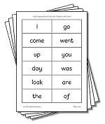 reading printables. Sight words, tricky words plus ideas for games to play with flashcards.