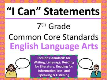 """""""I Can"""" Statements that can be easily displayed in your seventh grade classroom. This file contains standards for Writing, Reading for Informational Text, Language, Reading for Literature and Speaking & Listening. The statements covers ALL standards for seventh grade ELA!"""