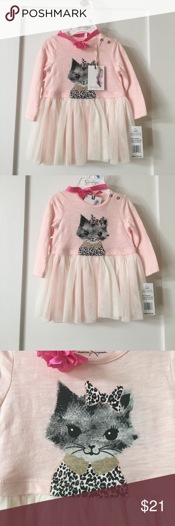 Jessica Simpson Newborn Dress * NWT * Jessica Simpson baby girl dress and bloomer set. Cat print with jungle cat design. Add on flower headband! Ages 3/6 months. Color is seashell pink with gold touches Jessica Simpson Matching Sets