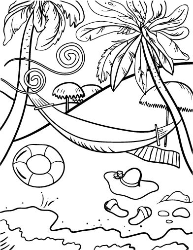 Printable beach coloring page. Free PDF download at http://coloringcafe.com/coloring-pages/beach/