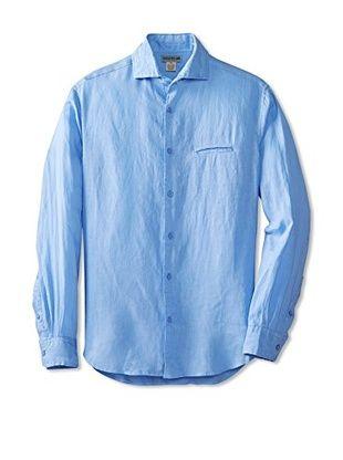 57% OFF Natural Blue Men's  Long Sleeve Linen Shirt (Blue)