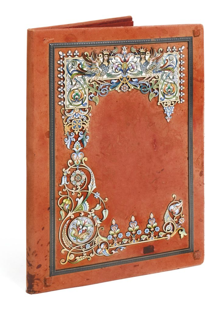 A silver and cloisonné enamel-mounted leather folio, Ovchinnikov, Moscow, 1899-1908 | Lot | Sotheby's