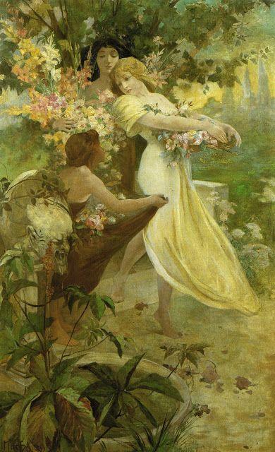 """1894 """"Spirit of Spring"""" by Alphonse Mucha"""
