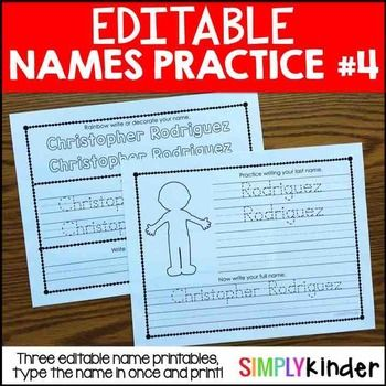Editable Names #4 - First and Last Name PracticeTraditional Print and D'Nealian…