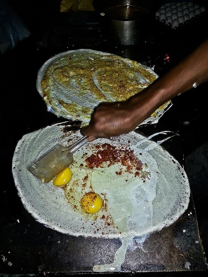 Egg Dosas at Yousufguda