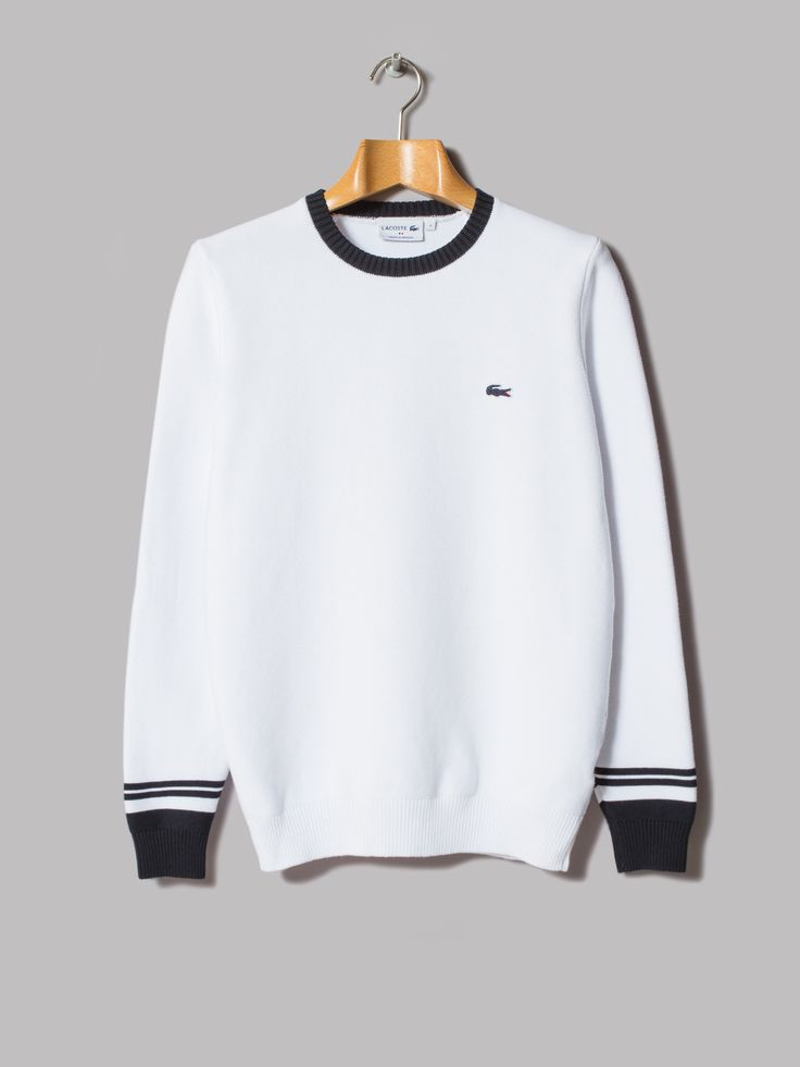 Lacoste Made In France Crew Neck Knit (Blanc / Marine)
