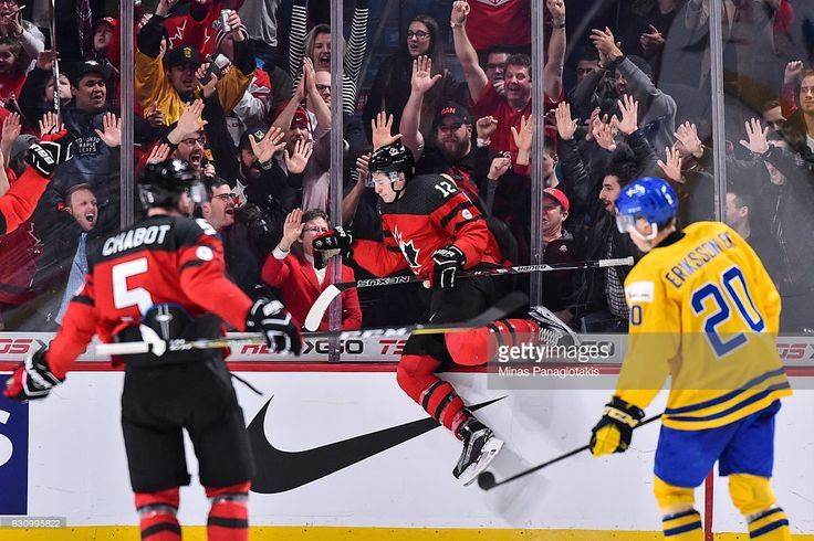 Julien Gauthier #12 of Team Canada celebrates his third period goal during the 2017 IIHF World Junior Championship semifinal game against Team Sweden at the Bell Centre on January 4, 2017 in Montreal, Quebec, Canada. Team Canada defeated Team Sweden 5-2 and move to the gold medal round.