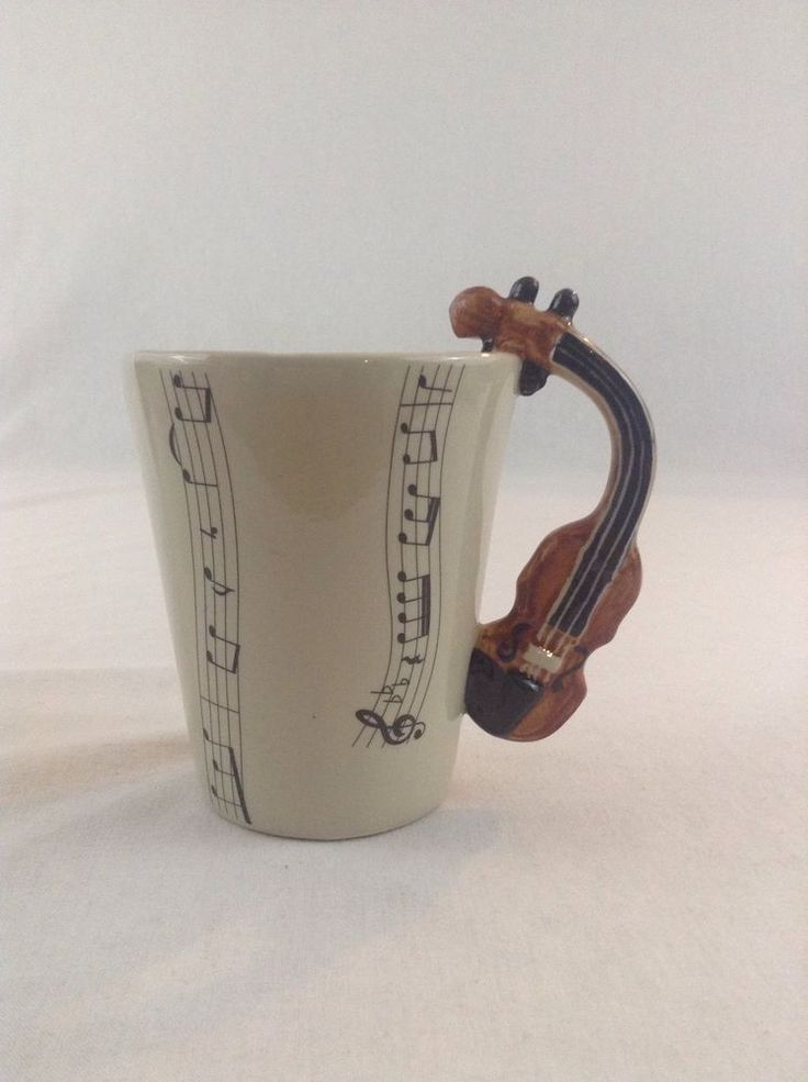 3D Violin Instrument Handle Musical Note Ceramic Coffee Cup Mug Drink Music #Unbranded