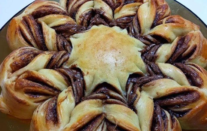 Aprenda a fazer essa receita incrivelmente deliciosa e linda de pão estrela de Nutella que é de comer rezando!
