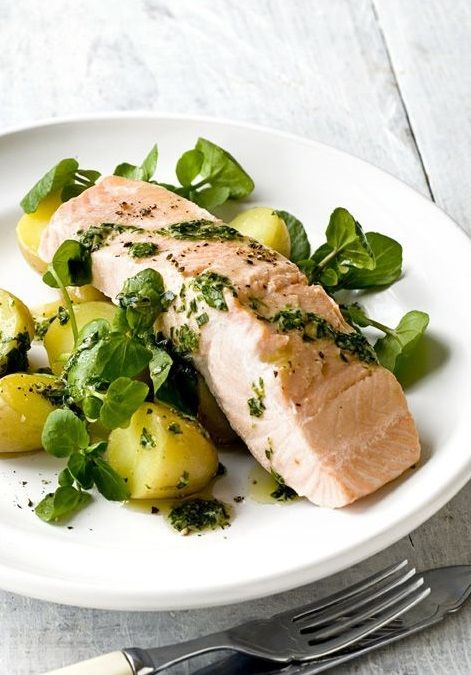 POACHED SALMON with GREEN HERB MUSTARD SAUCE, POTATOES & WATERCRESS [olivemagazine]