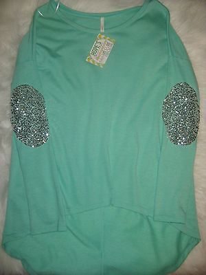 Shop Hope 039 s Boutique Mint Green Sequin Elbow High Low Sweater NWT Size M | eBay