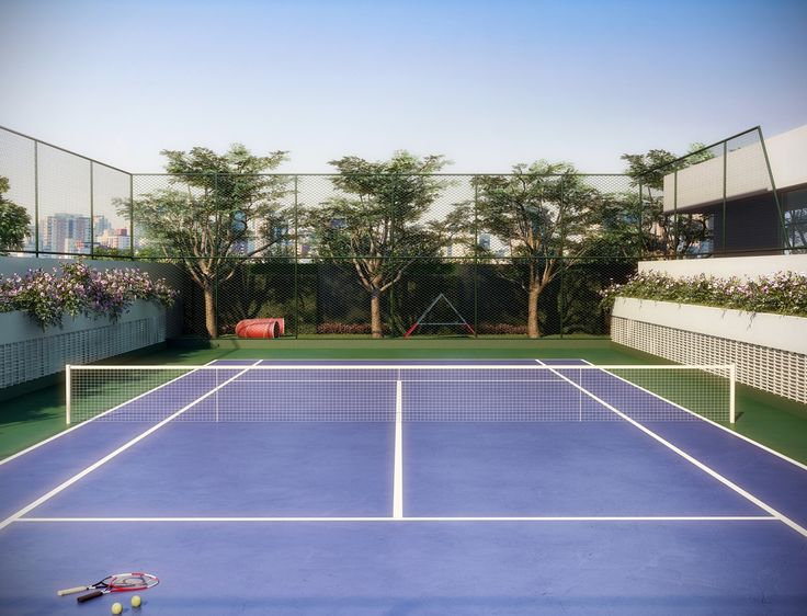 Perspectiva Ilustrada da Quadra de Tênis