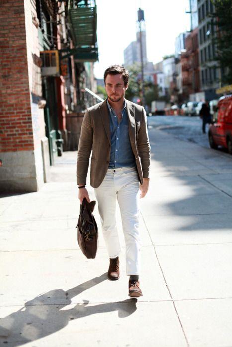 great simple: Men Clothing, Mens Fashion, Men Style, Street Style, Denim Shirts, White Pants, Men Fashion, Casual Outfits, White Jeans