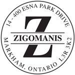 "Self-Inking Stamp 1-11/16"" round Monogram Letter Z."