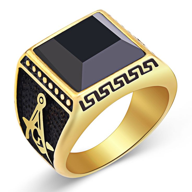 Mimeng  Latest Gold Ring Designs Western Style Steel Ring Stainless Steel Black Stone Ring For Men #Affiliate