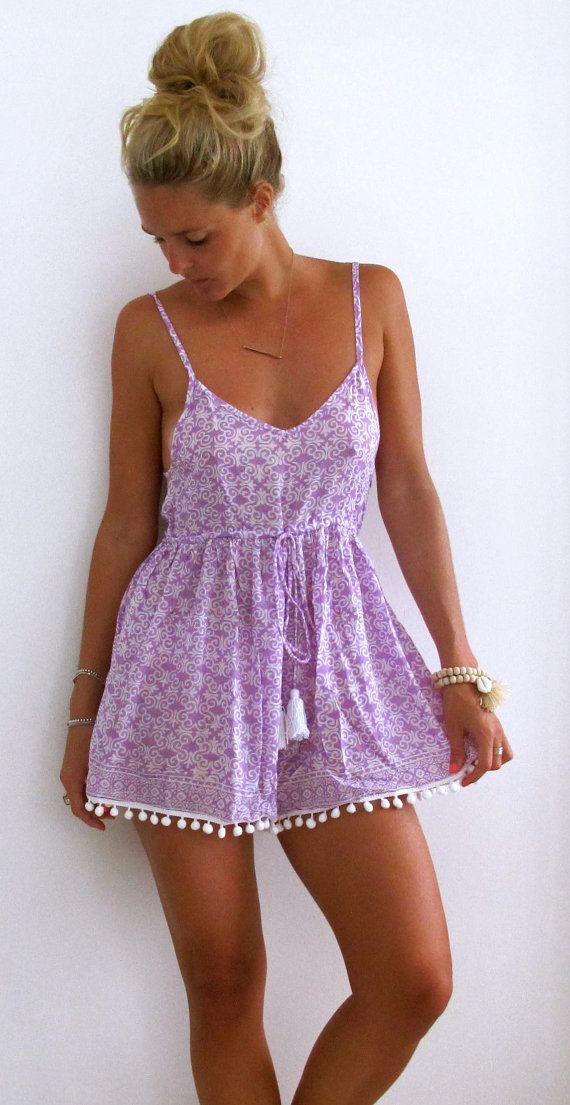 Pom Pom Jumpsuit - Lilac & White Iron Lace Print with White Pom Pom's, Purple Romper - beach playsuit
