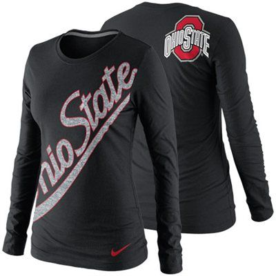 Nike Ohio State Buckeyes Ladies Angled Script Long Sleeve T-Shirt - Black