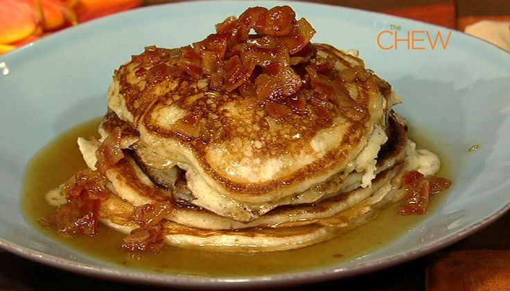 Bacon Pancakes with Maple Bourbon Butter Sauce #TheChew # ...