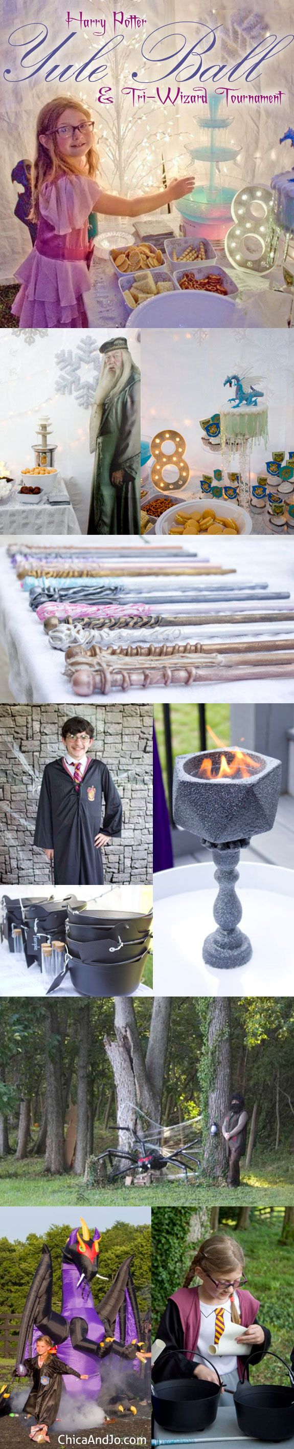 Harry Potter Yule Ball and Tri-Wizard Tournament Party ideas, decorations, games, wands, costumes, and more! #Harrypotter #harrypotterparty #yuleball