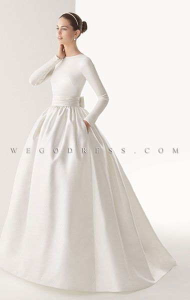 wedding dress, simple with sleevs