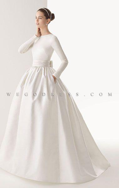 wedding dress, simple with sleevs