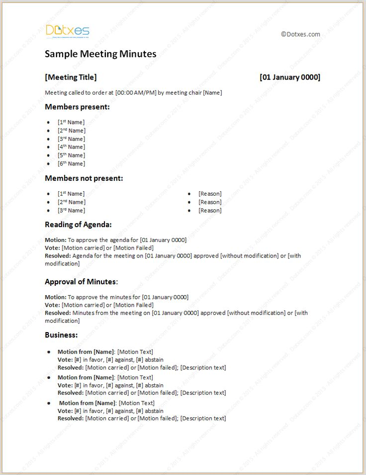 business meeting minutes format