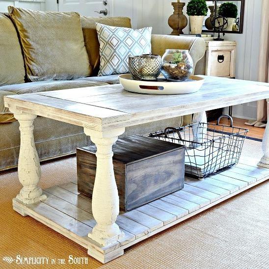 Restoration Hardware Knock Off Salvaged Wood Balustrade Coffee Table!