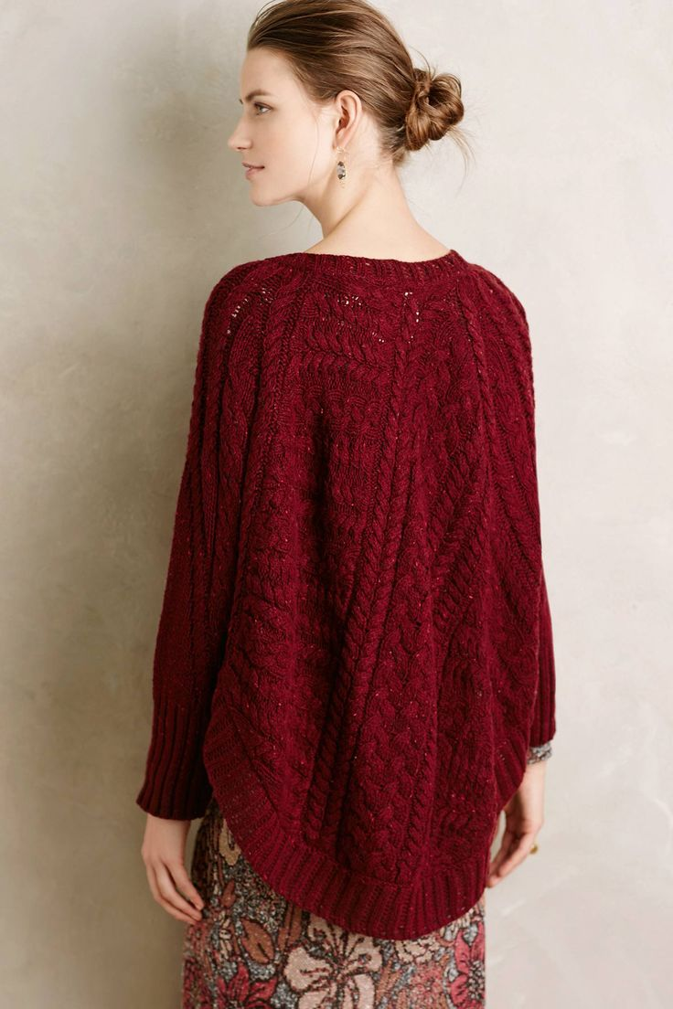 Curved Cables Poncho - anthropologie.com