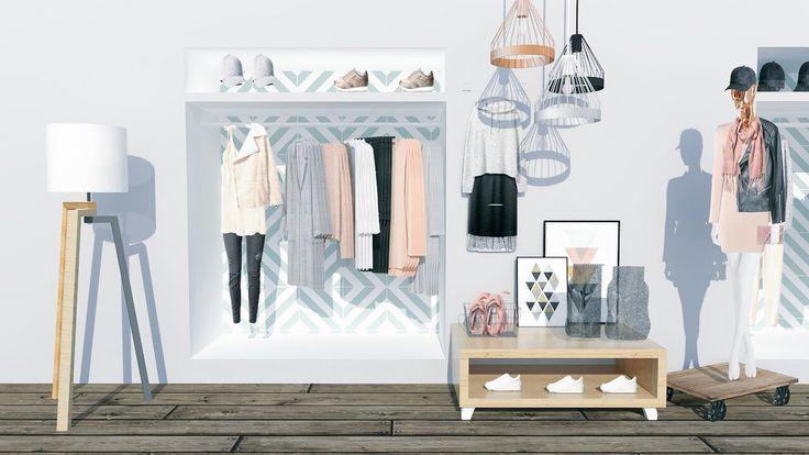 Koncepcja aranżacji przestrzeni handlowej jednego z butików znanej marki odzieżowej. Naszym głównym celem było stworzenie ciekawej, ale przede wszystkim optymalnej przestrzeni wyrażającej filozofię marki.